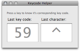 The Keycode Helper window