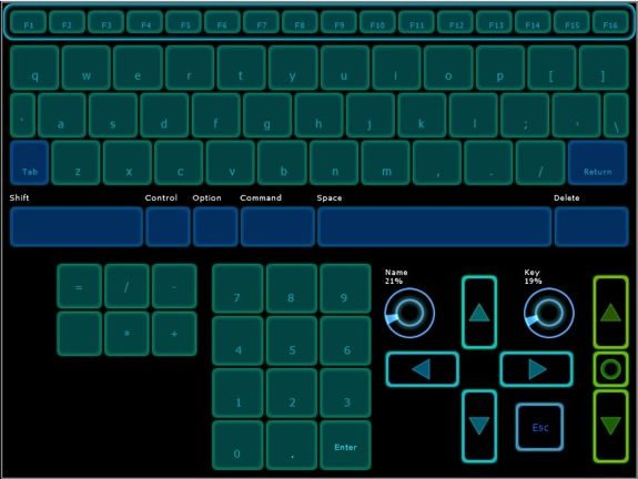 A screenshot of the Lemur Virtual Keyboard preset